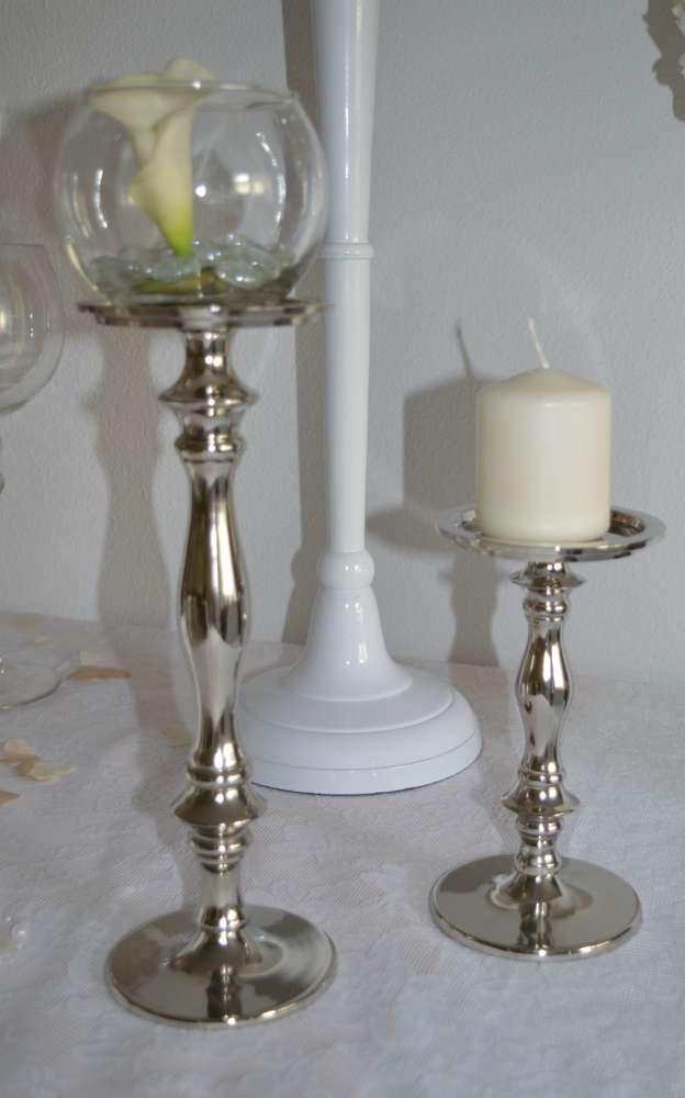 Kerzenhalter 1 Arm Für Stumpenkerzen 30cm Silber Mieten